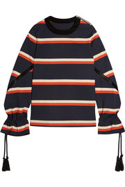 Rope-detailed striped cotton-jersey sweatshirt