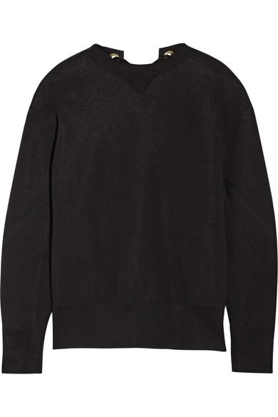 Sacai - Lace-up Cotton-blend Sweatshirt - Black