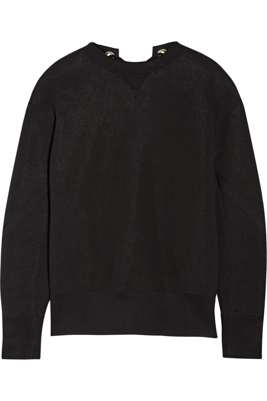 Sacai Lace-Up Cotton-Blend Sweatshirt, Black, Women's, Size: 2