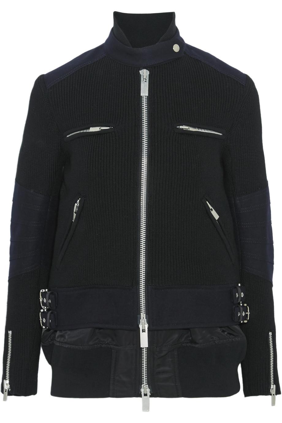 Sacai Wool and Shell Biker Jacket, Size: 1