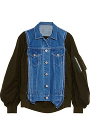 Denim-paneled wool-twill bomber jacket