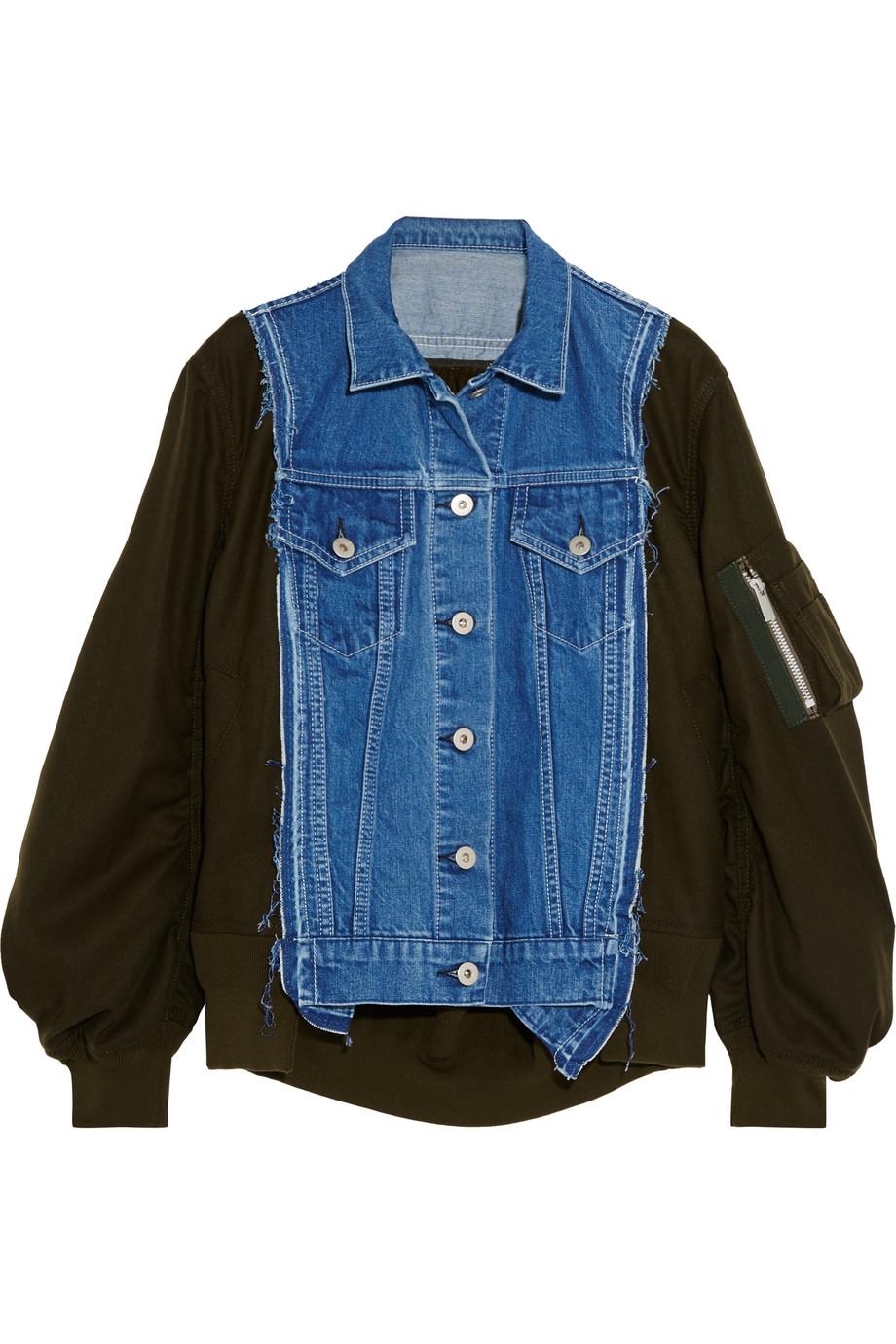 Sacai Denim-Paneled Wool-Twill Bomber Jacket, Size: 3