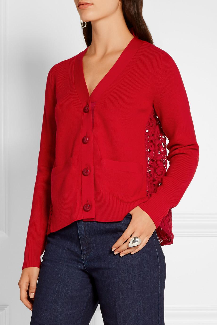 Sacai Lace-Paneled Wool Cardigan, Size: 4