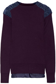 Satin-paneled ribbed cotton sweater