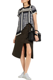 Embellished pleated crepe top
