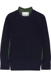 Poplin-paneled wool sweater