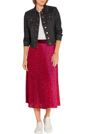 Velvet-trimmed pleated lace wrap skirt