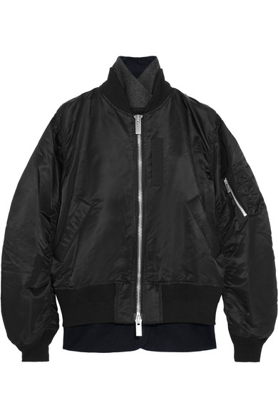 Sacai - Wool Crepe-trimmed Shell Bomber Jacket - Black
