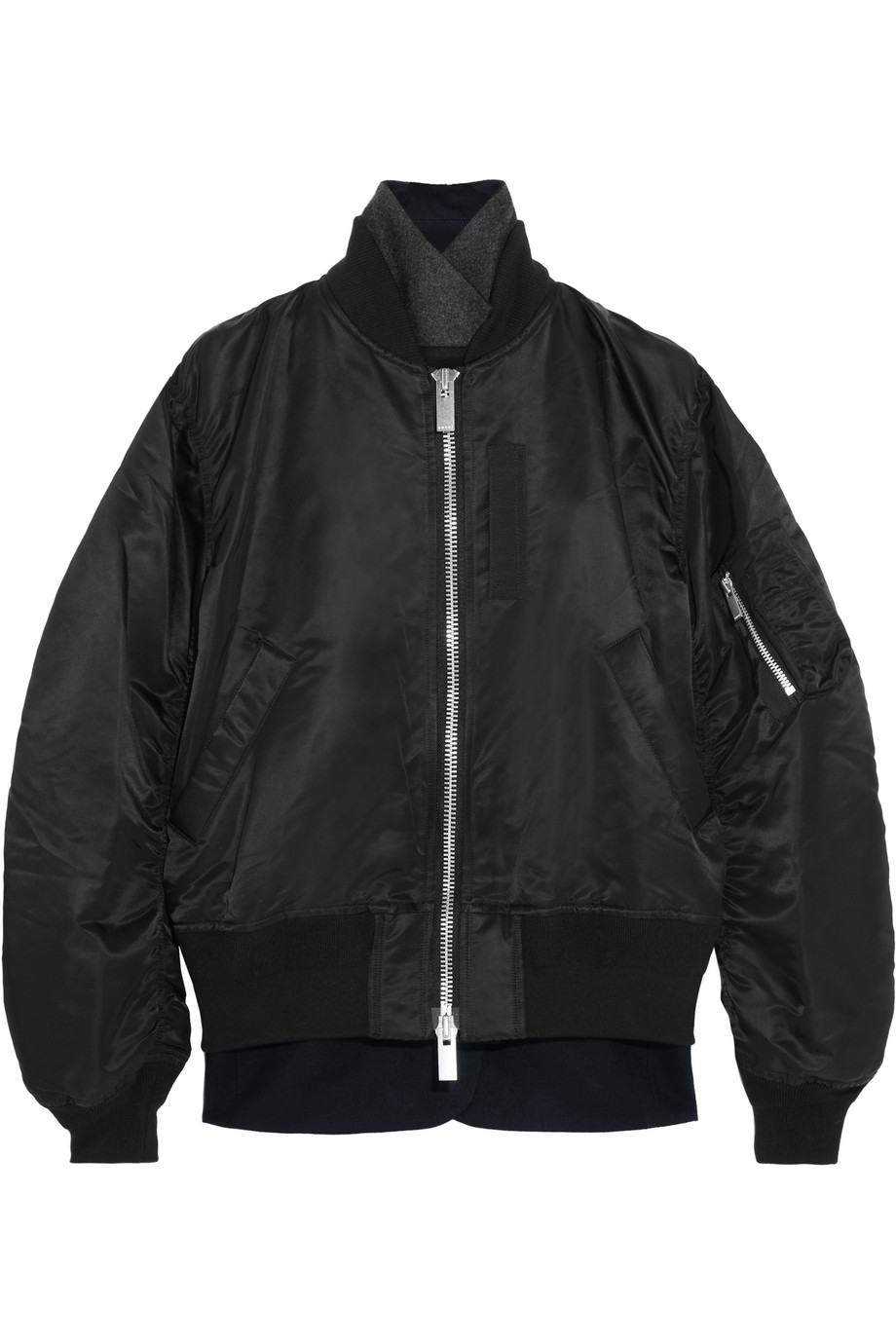 Sacai Wool Crepe-Trimmed Shell Bomber Jacket, Size: 3