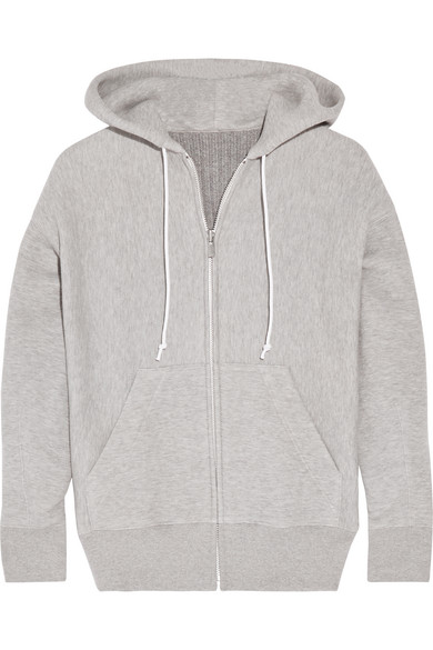 Sacai - Cotton-blend And Wool-blend Hooded Top - Stone