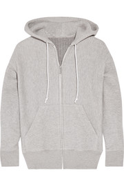 Cotton-blend and wool-blend hooded top