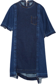 Asymmetric frayed denim mini dress