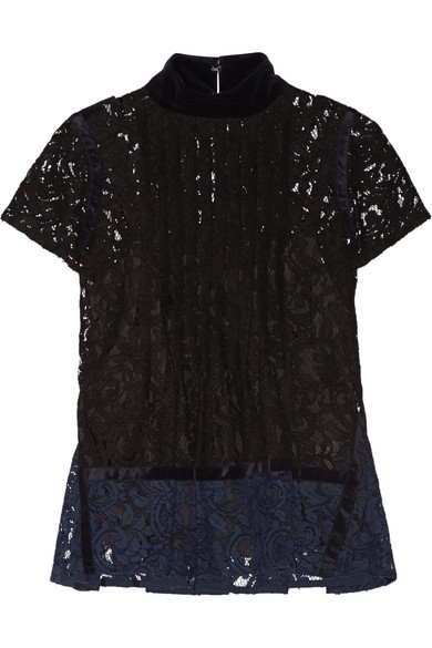 Sacai - Velvet-trimmed Pintucked Guipure Lace Top - Black