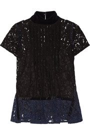 Sacai Velvet-trimmed pintucked guipure lace top
