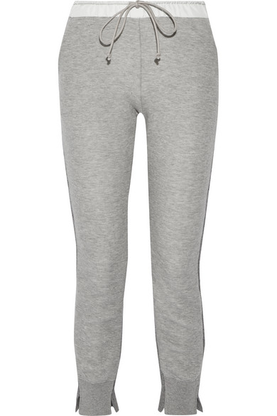 Sacai - Cotton-blend Jersey And Wool And Cashmere-blend Track Pants - Gray