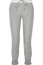 Cotton-blend jersey and wool and cashmere-blend track pants
