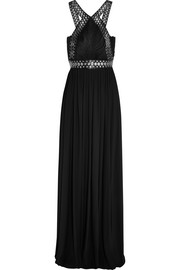 Alexander Wang Eyelet-embellished leather-trimmed stretch-crepe gown
