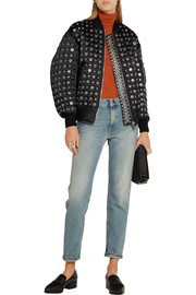 Alexander Wang Leather-trimmed eyelet-embellished shell bomber jacket