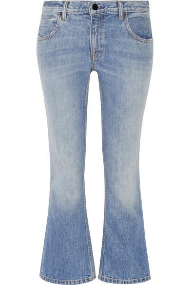 alexander wang female  alexander wang cropped midrise bootcut jeans light denim