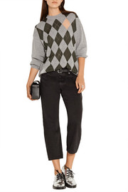 Alexander Wang Mesh-paneled argyle merino wool-blend sweater