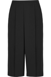 Pleated cropped wool-twill wide-leg pants