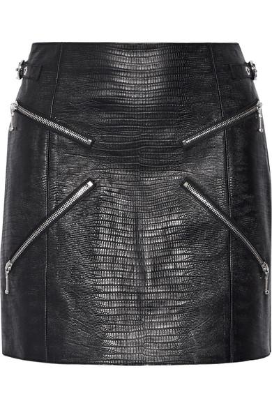 alexander wang female 188971 alexander wang zipembellished lizardeffect leather mini skirt black
