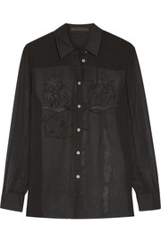 Embroidered silk-chiffon blouse