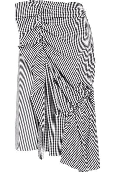 J.W.Anderson - Gingham-ruffled Striped Cotton-poplin Skirt - Black