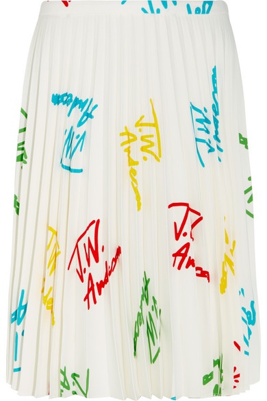 J.W.Anderson - Pleated Printed Stretch-crepe Skirt - White