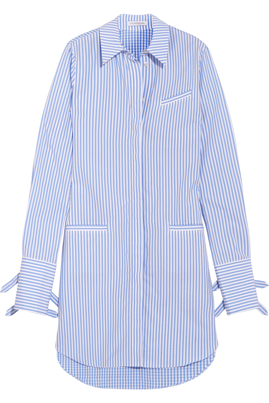 J.W.Anderson Striped Cotton and Gingham Shirt Dress, Blue, Women's - gingham, Size: 8