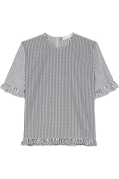 J.W.Anderson - Gingham-paneled Striped Cotton-poplin Top - Black