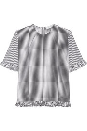 J.W.Anderson Gingham-paneled striped cotton-poplin top
