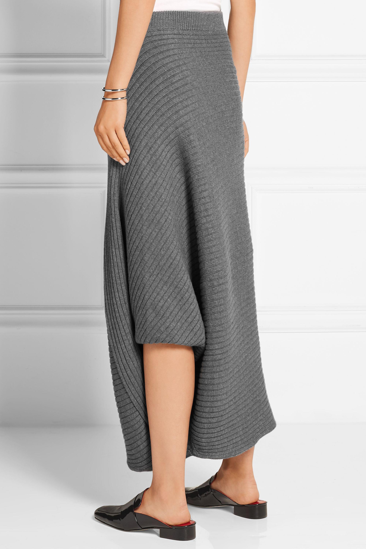 JW Anderson Asymmetric ribbed merino wool skirt