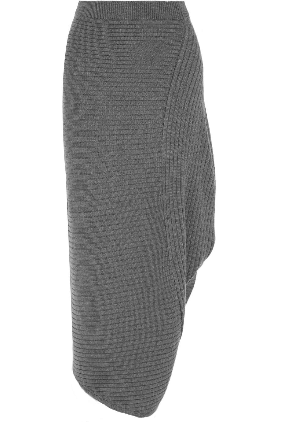 J.W.Anderson Asymmetric Ribbed Merino Wool Skirt, Gray, Women's