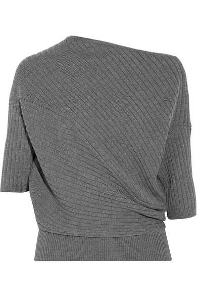 J.W.Anderson - Ribbed Stretch Merino Wool-blend Sweater - Dark gray