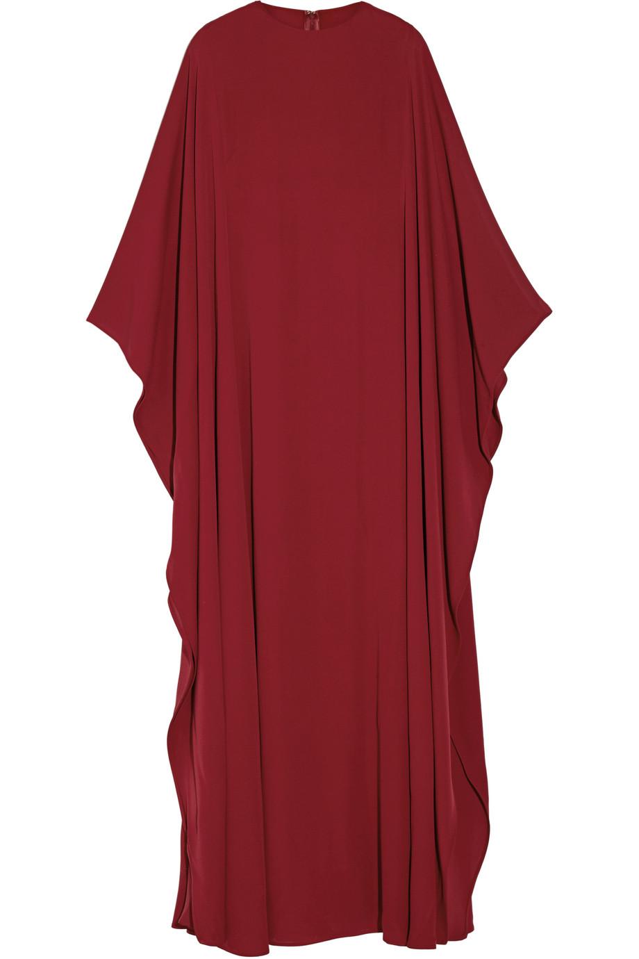 Valentino Silk-Georgette Gown, Burgundy, Women's, Size: 44