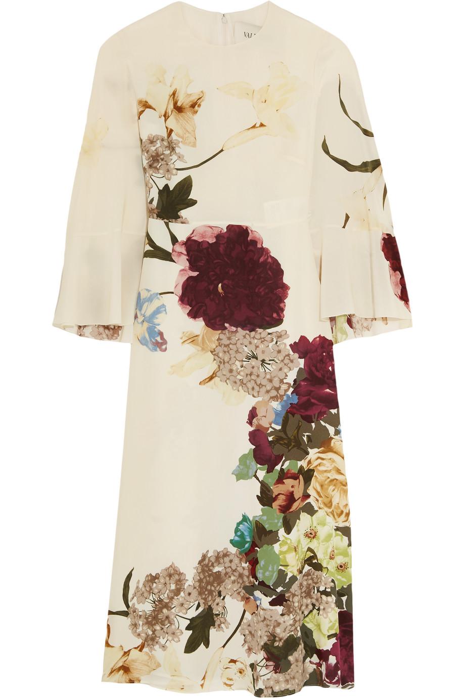 Valentino Cape-Back Floral-Print Silk Midi Dress, Ivory/Burgundy, Women's - floral print, Size: 42