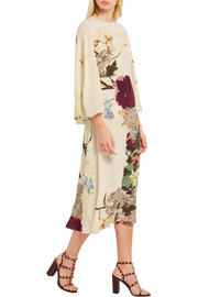 Cape-back floral-print silk midi dress