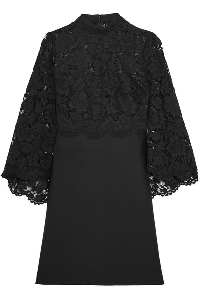 Valentino - Cape-back Corded Lace And Wool And Silk-blend Mini Dress - Black