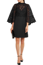 Valentino Cape-back corded lace and wool and silk-blend mini dress