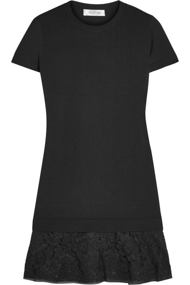 Valentino - Corded Lace-trimmed Knitted Mini Dress - Black