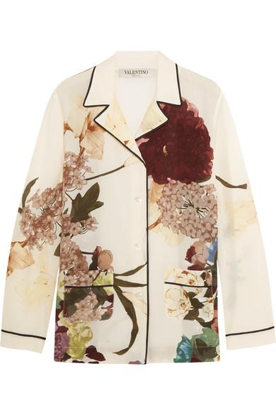 Valentino - Floral-print Silk Crepe De Chine Shirt - Ecru