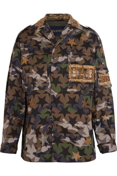Valentino - Embellished Camouflage-print Cotton-twill Jacket - Army green