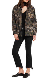 Valentino Embellished camouflage-print cotton-twill jacket