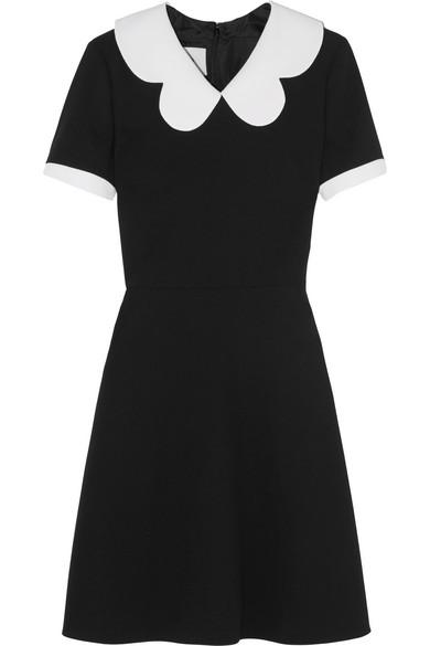 Valentino - Scallop-collar Wool-crepe Mini Dress - Black