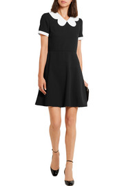 Valentino Scallop-collar wool-crepe mini dress