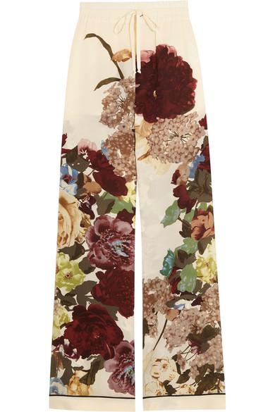 Valentino - Floral-print Silk Crepe De Chine Wide-leg Pants - Ecru