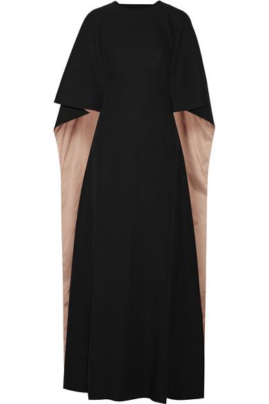 Valentino - Cape-back Silk-cady Gown - Black