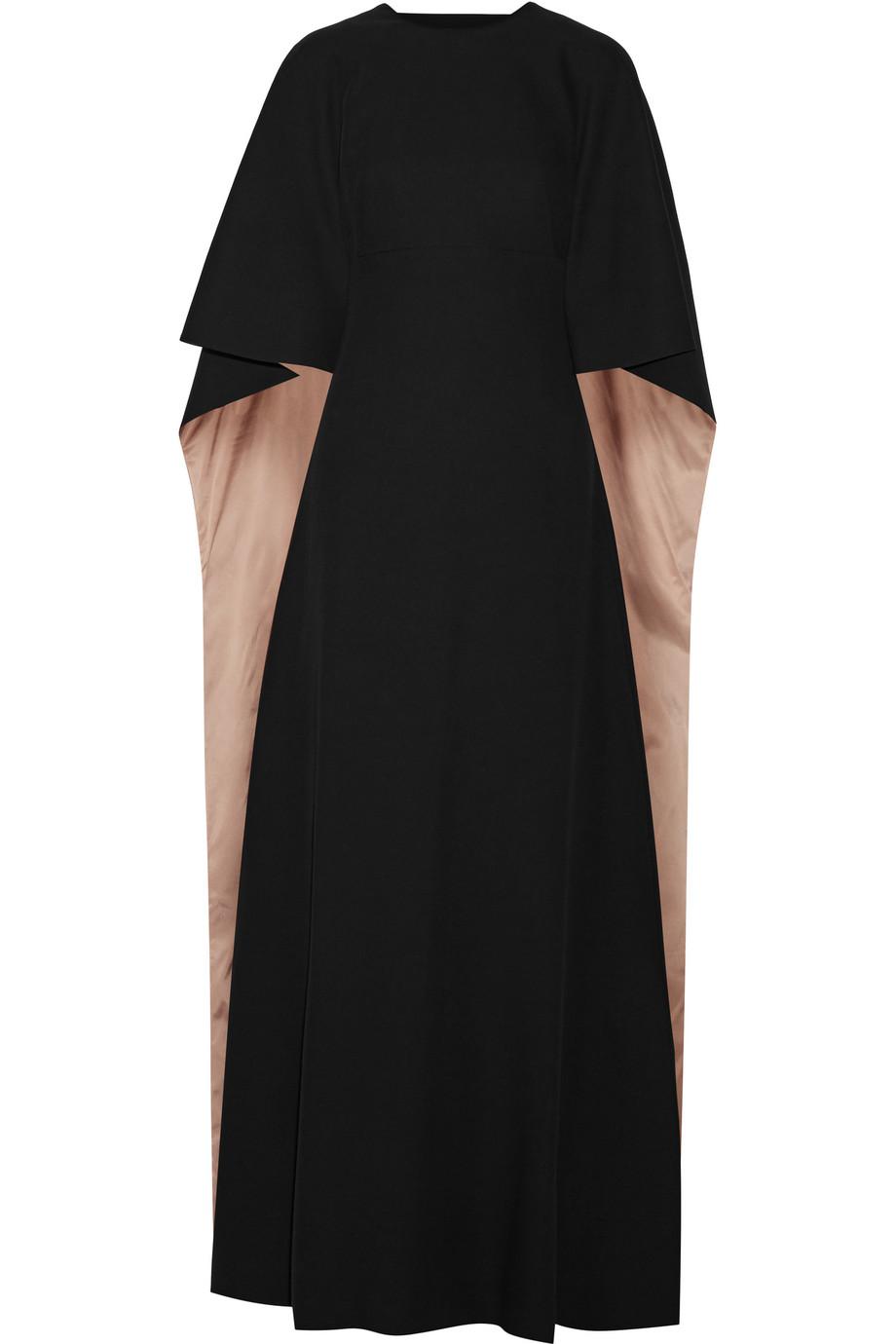 Valentino Cape-Back Silk-Cady Gown, Black, Women's, Size: 38