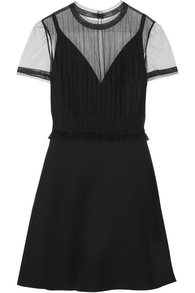 Valentino - Tulle-panelled Wool And Silk-blend Crepe Mini Dress - Black